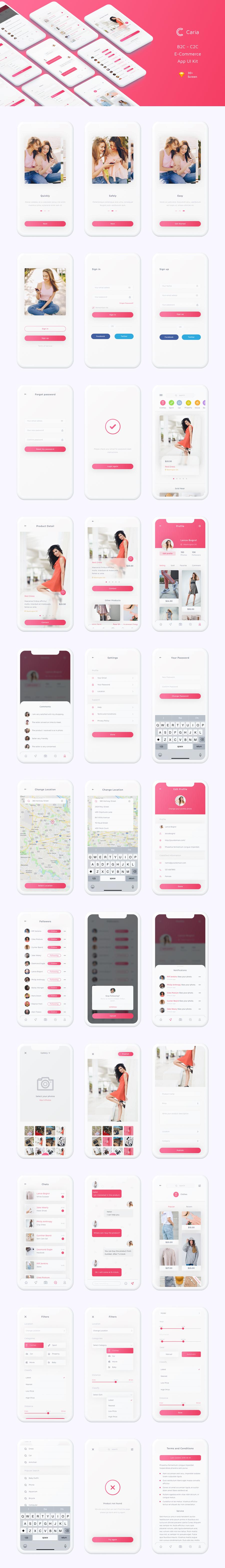 Caria - eCommerce App UI Kit - 1