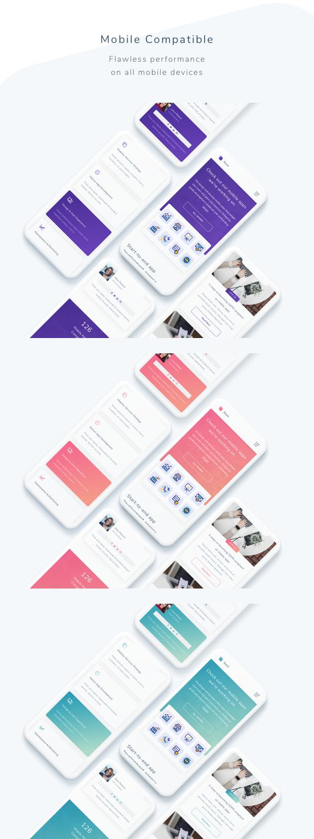 Gaus - Mobile App Development Agency Template - 2