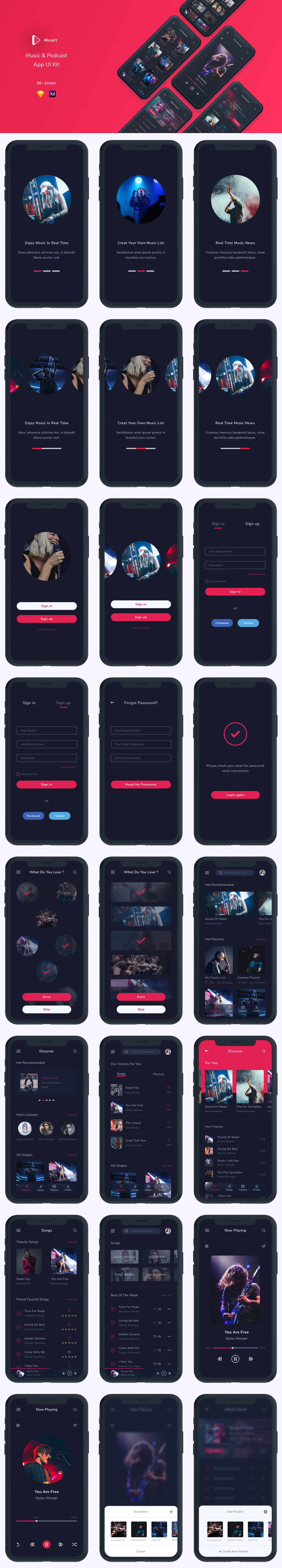 Moart - Music and Podcast App UI Kit - 1